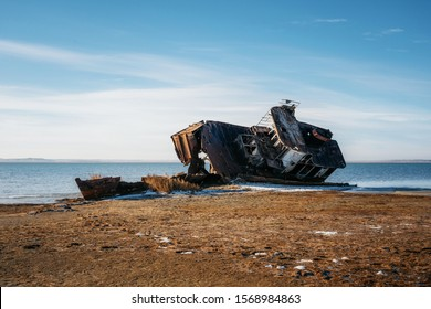 Ship remains on shore of Aral sea or Aral lake, Kazakhstan