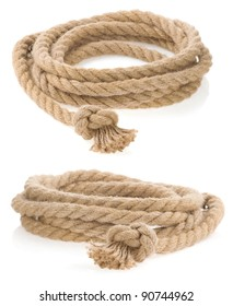 ship rope tied with knot isolated on white background