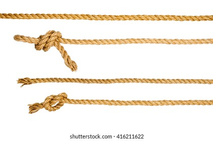Ship ropes with knot isolated on white background, closeup