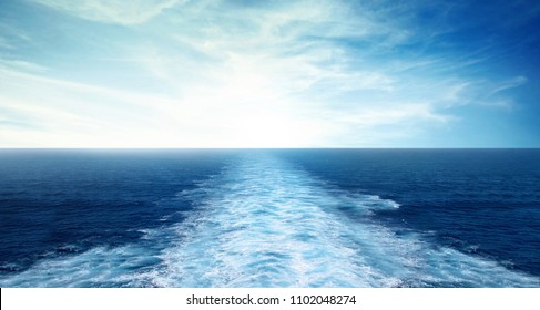 ship sailing waves