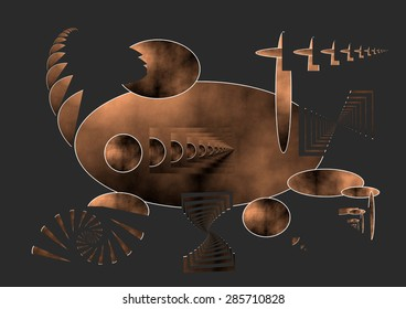 And the Ship Sails On,Abstract digital art,spiral fractal burnt copper gradient,degraded,dark gray infinity background,Homage to Federico Fellini, abstract expressionist illustration