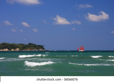 Ship with scarlet sails going towards the shore.