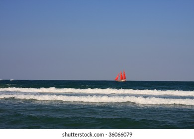 Ship with scarlet sails. Horizon.