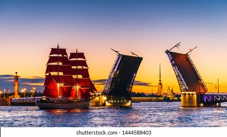 Ship with scarlet sails, sails in the Neva waters between the Palace and Trinity bridges.