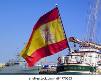 Ship school Juan Sebastian de Elcano in Cadiz capital, Andalusia. Spain