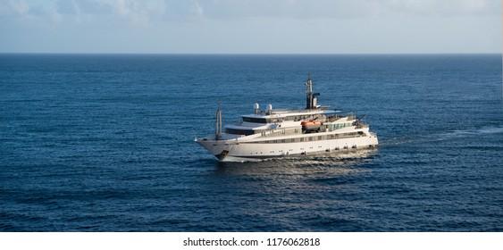 Ship in sea in Bridgetown, Barbados. Sea voyage. Discovery and adventure. Sea voyage on ship. Wanderlust to sea voyage on passenger ship.