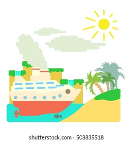 Ship in sea near island concept. Flat illustration of ship in sea near island  concept for web