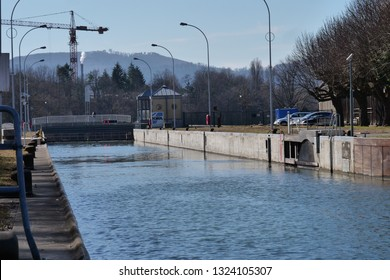 ship sluice at river Rhein in Augst with open lock gate full of water, ready to enter in. CH Switzerland. 26th Febr.2019
