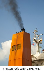 ship with smoke emission and air pollution