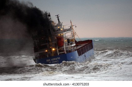 Ship in storm, Istanbul, Turkey, 17 November 2013