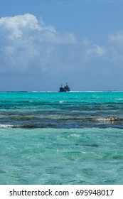 Ship stranded on the Natural Aquarium, a caribbean reef at San Andrés Island, Colombia