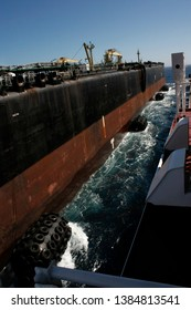Ship To Ship (STS) Transfer Procedure. Two Oil Tankers Transfer Cargo (Crude Oil)