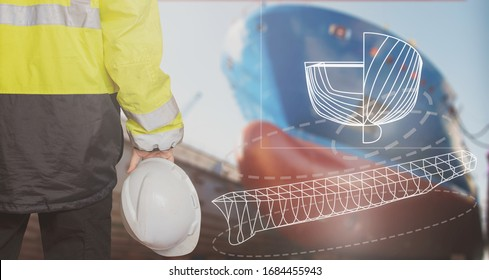 Ship sub-designer or shipbuilder in drydock with ships bow on a background. Ship design, ship buiding, construction and vessel architecture concepts. Great design for shipbuilding business.