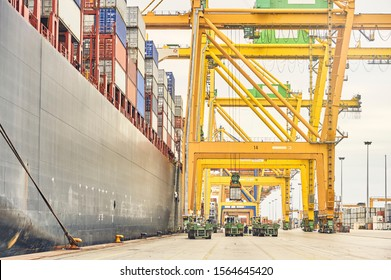 Ship -to-shore crane loading container trucks from freighter along port dock. Maritime transportation infrastructure and shipping logistics. Export and import bussines