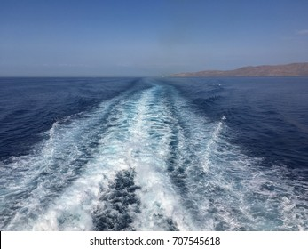 Ship wakes formed in the Aegean Sea, Greece