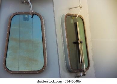 Ship windows on battleship, Thailand