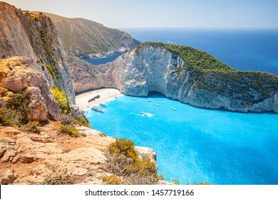 Ship Wreck beach. Navagio bay. Greece. The most popular natural landmark of Zakynthos, Greek island in the Ionian Sea