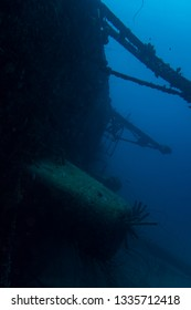 The ship wreck of the Hilma Hooker lying on its starboard side on the reef of the tropical island Bonaire