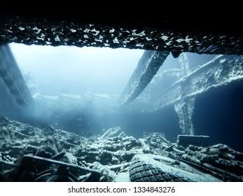 Ship wreck interior in the ocean