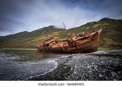 ship wreck, Morzhovaya Bay, Russia