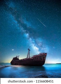 Ship wreck in the night in front of the milky way