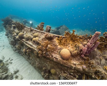 "Ship wreck ""Tugboat Saba"" in coral reef of Caribbean sea around Curacao"