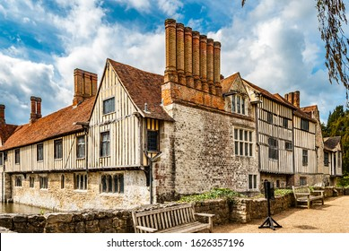 Shipbourne, Kent, UK. April 21 2012 Large Tudor Building in Shipbourne Kent, England. With chimneys, and leaded windows.