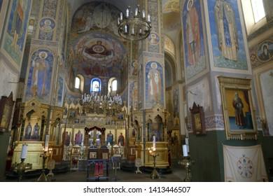SHIPKA, BULGARIA - APR 16, 2019 - Iconostasis separates nave from apse in Shipchenski monastery of St Nicholas, Shipka, Bulgaria
