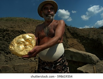 Shipka, Bulgaria -  August 19, 2004: Georgi Kitov discovered a gold mask in a 5th-century BC burial mound outside the town of Shipka