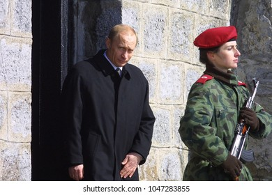 Shipka, Bulgaria - Mart 3, 2003: The Presidents of Russia Vladimir Putin and Bulgaria Parvanov during celebrations marking the 125th anniversary of liberating Bulgaria from the Ottoman yoke.