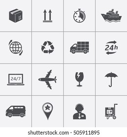 Shipment and delivery icons set
