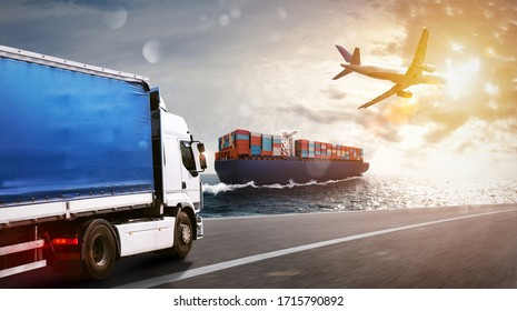 Shipment of goods by sea, by land and by air with cargo ship, truck and airplane