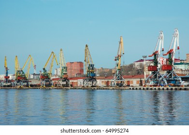 Shipment pier (stage) in russian seaport (Vladivostok).