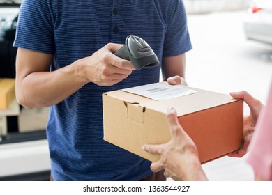 Shipment working delivery service concept, Messenger Leaving Parcel Barcode Scanning checking order to confirm before sending customer