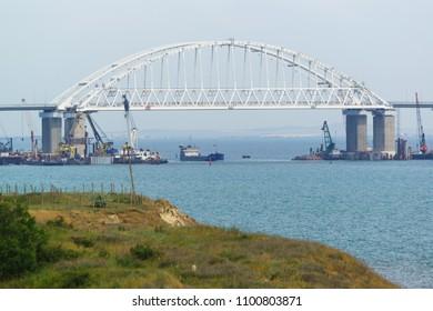 Shipping arch span Crimean bridge across the Kerch Strait. Fairway