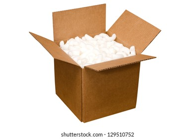 Shipping box with packing peanuts  isolated on white background with clipping path.