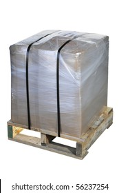Shipping box wrapped in plastic shrink wrap and metal banding on a wooden pallet