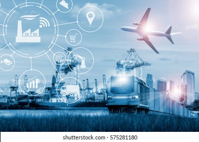 shipping business industry with container,ship in port and freight cargo plane in transport and import-export commercial logistic.