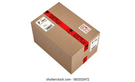 shipping cardboard box isolated on white - 3d rendering