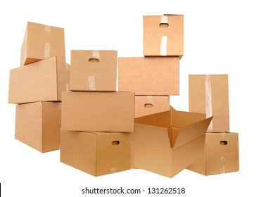Shipping cardboard boxes on white