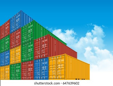 Shipping Cargo Container for Logistics and Transportation with clouds