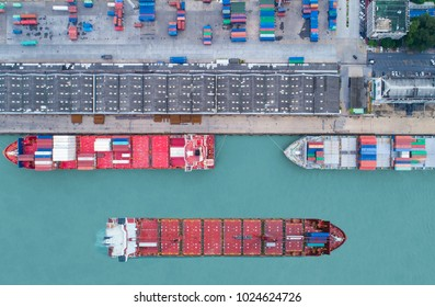 Shipping cargo to harbor,Container ship in import export and business logistic, Trade Port, Aerial view from drone, International transportation, Business logistics concept
