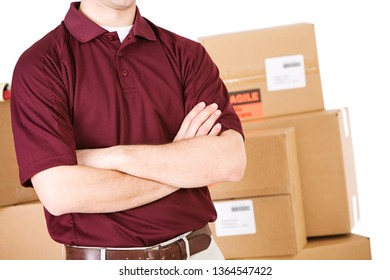 Shipping company employee, isolated on white, with boxes.
