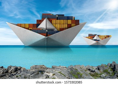 Shipping concept - Paper boats, two cargo container ships in the turquoise sea with blue sky and clouds