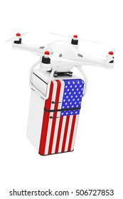 Shipping Concept. Quadrocopter Drones Delivering Retro Refrigerator with the USA Flag on a white background. 3d Rendering