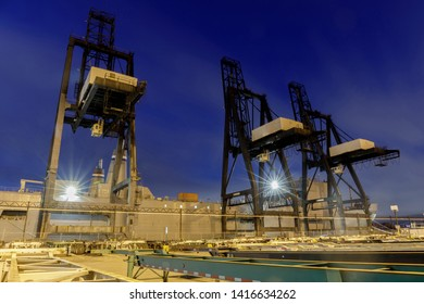 Shipping Container Cranes in the Port of Oakland. Oakland, Alameda County, California, USA.