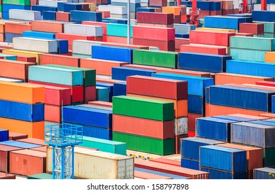 shipping container yard closeup in shanghai seaport