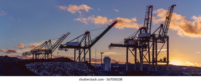 Shipping crane background shipping vessel at port sunset constructions for banner slider size