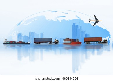 Shipping, delivery car, ship, plane transport on a background map of the world.  Delivery Global business of Container Cargo freight train for logistic import export, Business logistics concept
