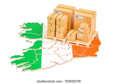 Shipping and Delivery from Ireland isolated on white background, 3D rendering